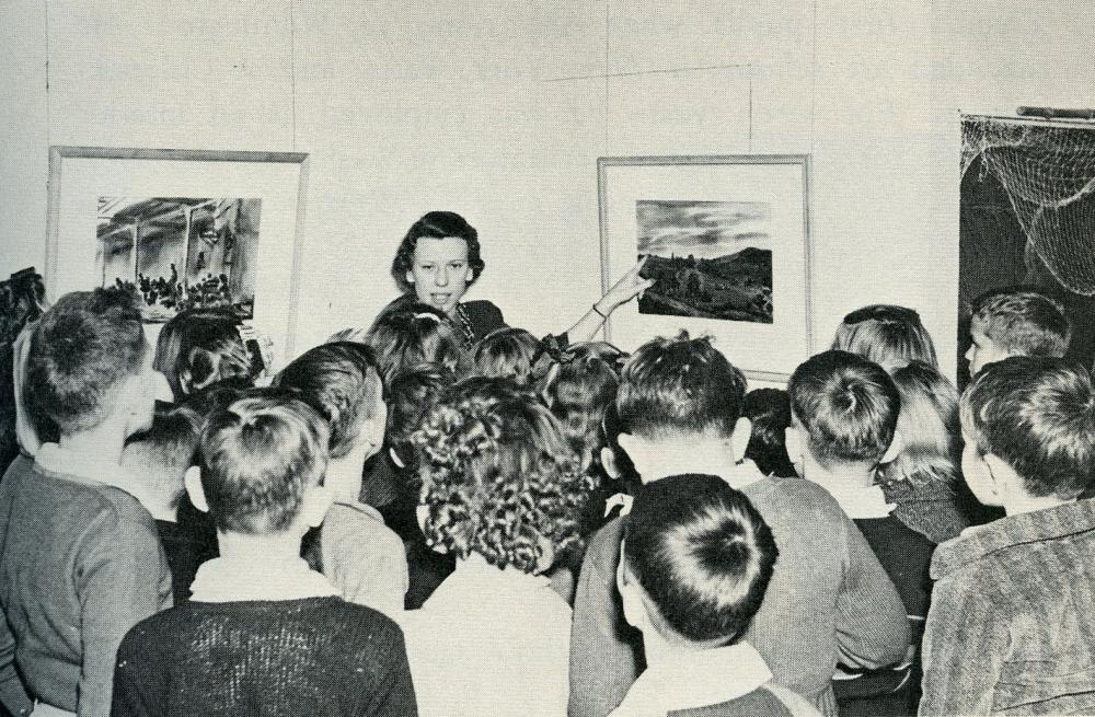 Peggy Hall and students