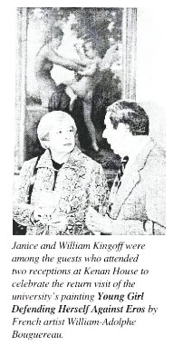 Campus Communique newsletter 02/22/2001. Reception at Kenan House. Janice and William Kingoff were among guests.