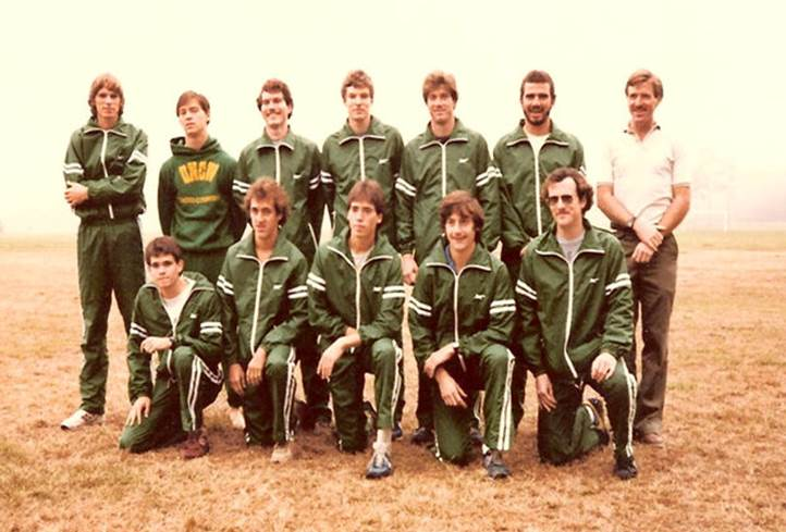 Track Team photo from 1983 Fledgling yearbook. Photo includes two honors students, Tom Lankford and Julian Keith.
