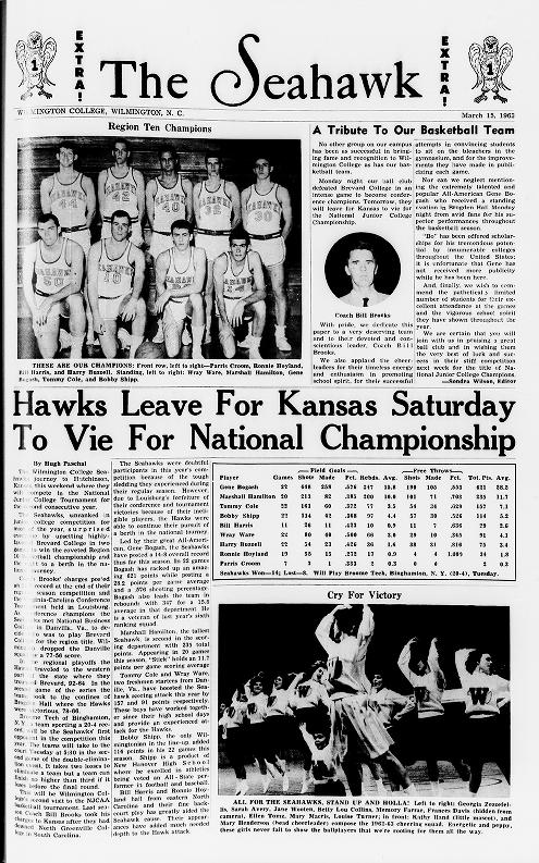 """A tribute to our basketball team,"" March 15, 1963, Seahawk student newspaper"