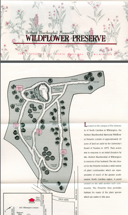 Brochure with map of the preserve