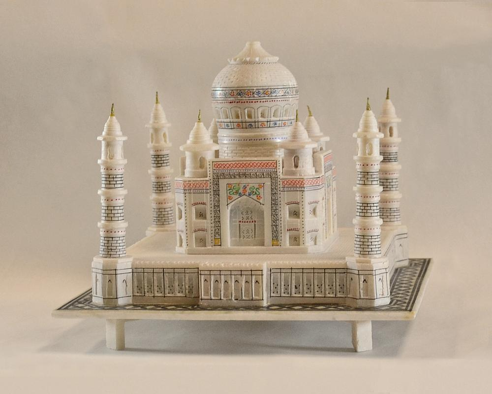 Taj Mahal model in University Archives. These replicas are made in various sizes.  The one in Archives has a base of 9 in. by 9 in.