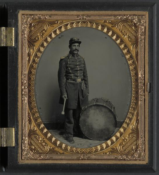 framed photo of a soldier in Union uniform with bass drum