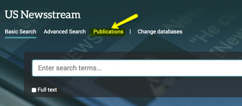 US Newsstream Publication search