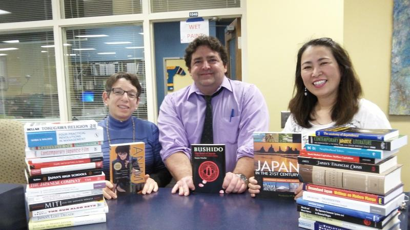 From left to right – Sarah Watstein, University Librarian, Randall Library, John Osinski, E-Learning Services Librarian, Professor Yoko Kano, Director of the Foreign Language Resource Center, UNCW.