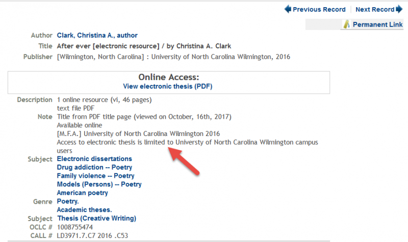 catalog record showing note limiting access to on-campus use