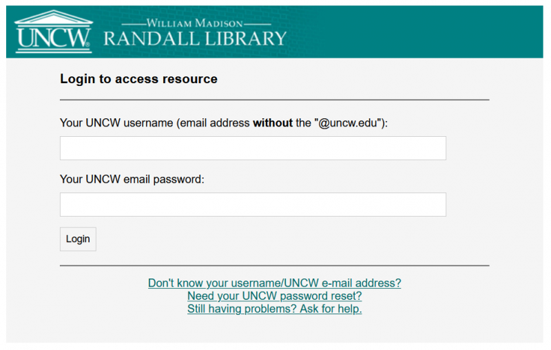 The login screen for accessing resources from off campus.