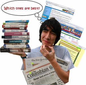 Image of student considering a variety of information sources.