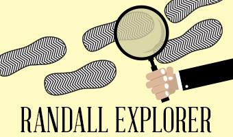 "Text reads ""Randall Explorer."" Magnifying glass looking at footprints."