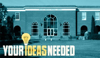 A picture of Randall library with text reading Your Ideas Needed.