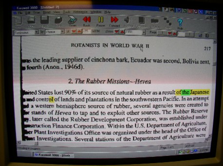 This is a picture of text being read by Kurzweil