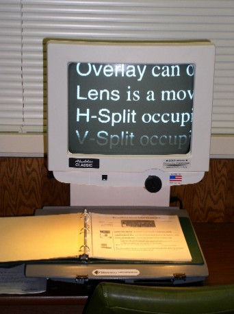 This is a picture of the video magnifier in the AT Room